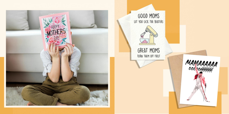 Illustration of a little girl holding up a Mother's Day Card and two Mother's Day Cards from Etsy. The best Mother's Day cards can complement your gift or be presented on their own. Shop funny Mother's Day cards, unique Mother's Day cards and more.