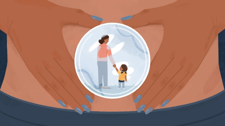 Illustration of a woman holding a petri dish that shows her with a small child.
