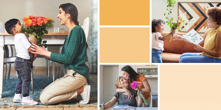Illustration with three images of different moms getting flowers from their kid
