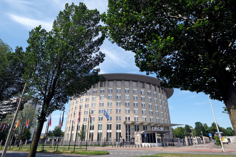 The Organisation for the Prohibition of Chemical Weapons (OPCW) headquarters building on June 24, 2020 in The Hague, Netherlands.