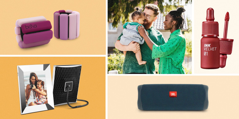 Illustration of a Mother, Father and baby son, JBL FLIP 5 Portable Bluetooth Speaker, Nixplay 2K Smart Digital Picture Frame, Bala Bangles and  Peripera Ink the Velvet Liquid Lip Gift Set