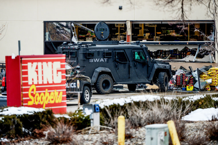 Emergency crews respond to a call of an active shooter at the King Soopers grocery store in Boulder, Colo., on March 22. 2021.