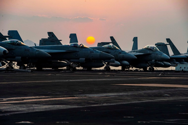 Fighter jets on the flight deck of U.S. Navy aircraft carrier USS Dwight D. Eisenhower as it transits the Suez Canal on April 2, 2021.