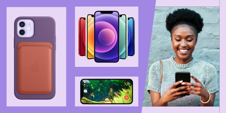 Illustration of the iPhone 12 and a Woman playing on an iPhone. A new iPhone 12 is launching this week. See iPhone 12 prices, purple iPhone 12 release date, and how to get the iPhone 12 Mini, iPhone 12 Pro and Pro Max.