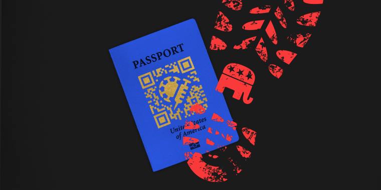 Photo illustration: A red colored footprint with the Republican Party logo over a blue passport that has a QR code with a COVID-19 spore and a vaccine on it.
