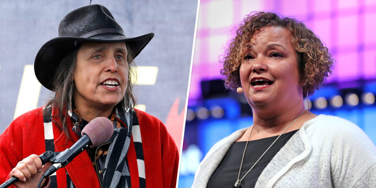 Native American land rights activist Winona Laduke, left, and Apple's Vice President of Environment, Policy and Social Initiatives Lisa Jackson.