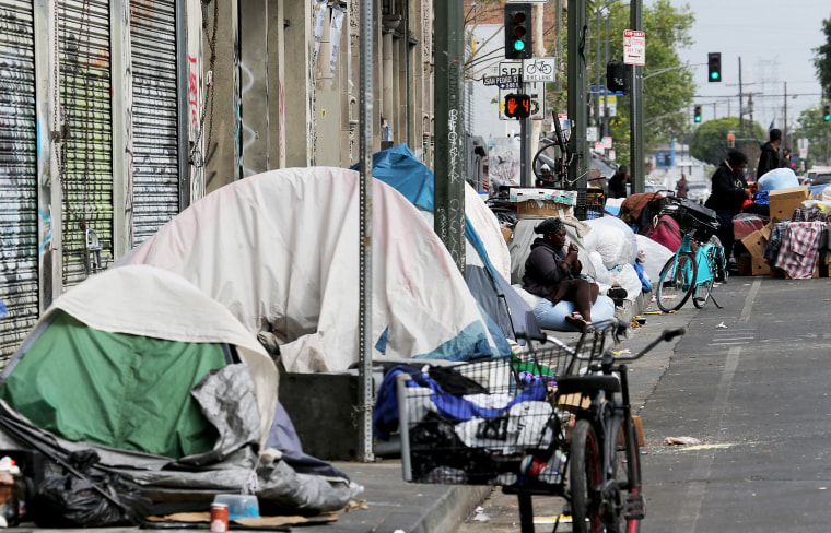 Entire blocks are packed with homeless encampments on skid row in downtown Los Angeles on April 21, 2021.