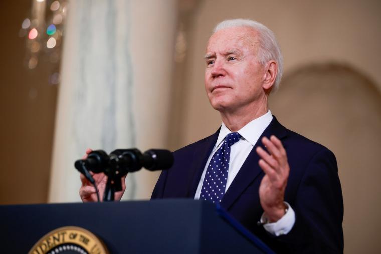 President Joe Biden speaks at the White House on April 20, 2021.