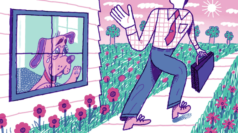 Illustration of a dog crying inside the home, watching his owner wave goodbye on their way to work.