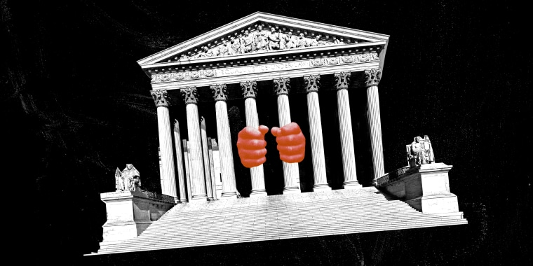 Photo illustration of a child's hands gripping the U.S. Supreme Court columns.