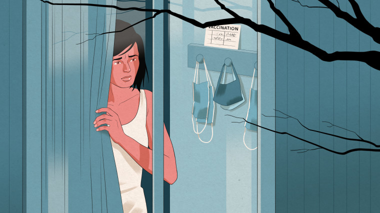 Illustration of a woman looking out her window next to a shelf of hung face masks and her vaccination card.