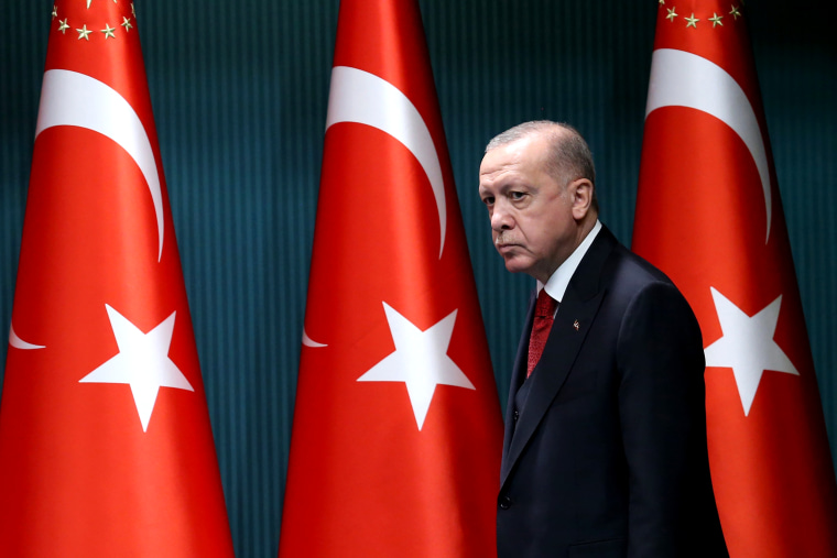 President of Turkey, Recep Tayyip Erdogan arrives to give a press conference after the cabinet meeting at the Presidential Complex in Ankara, Turkey, on Sept. 21, 2020.