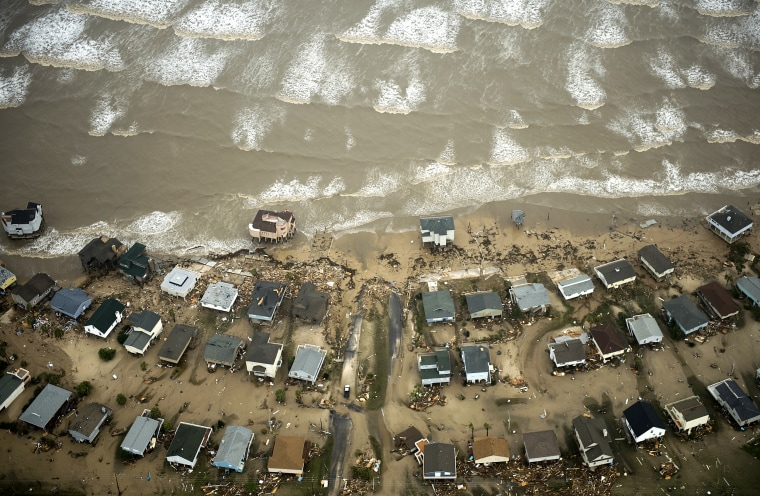 Damaged beach front homes are seen on Galveston Island after the passing of Hurricane Ike Sept. 13, 2008 in Galveston, Texas.