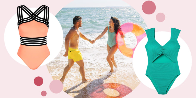 Illustration of the Hilor One-Piece Front Crossover Swimsuit and Women's Cap Sleeve Cut Out Textured One Piece Swimsuit, and an image of Man, with a Woman wearing a one-piece at the beach