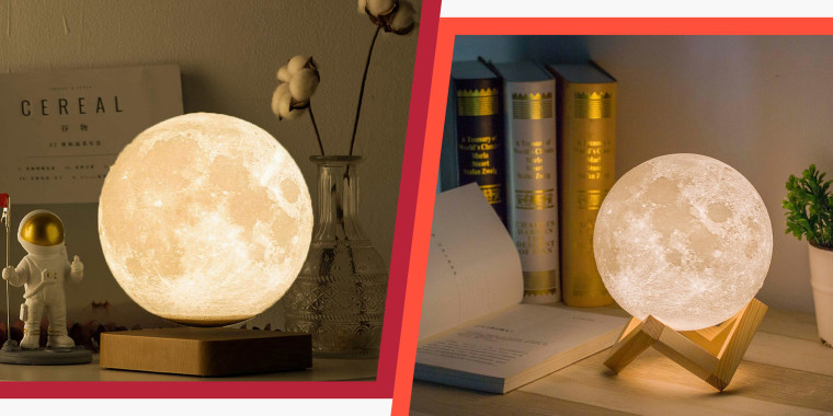 Illustration with two images of Moon lamps