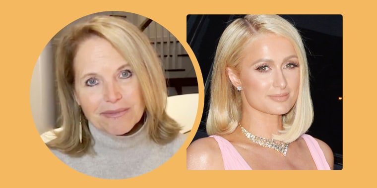 Paris Hilton, right, said Katie Couric inspired her chic new do.