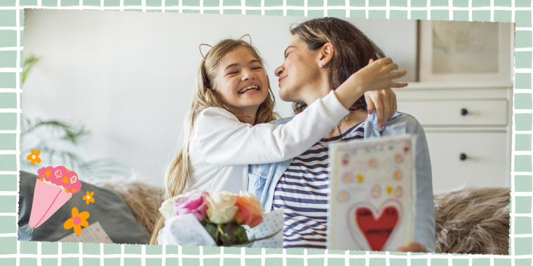 Illustration of a little girl hugging her mom and giving her a card and flowers for Mother's Day