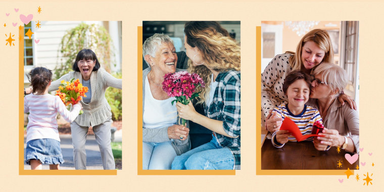Illustration of three images of different Grandma's with their kids and grandkids receiving flowers and gifts