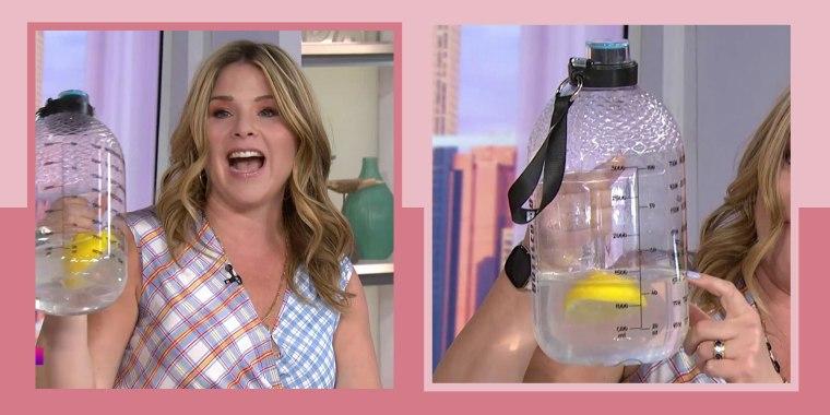 Illustration of Jenna on broadcast holding a large Bottled Joy Water Bottle