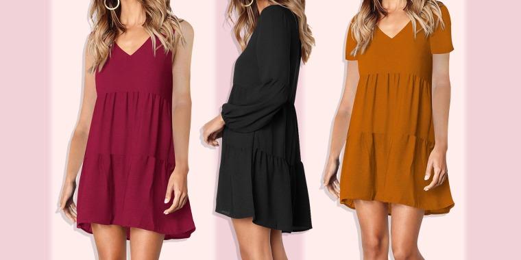 Three different styles of the Amoretu Women Summer Tunic Dress