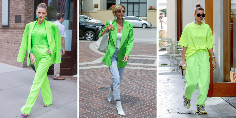 Illustration of Hailey Bieber, Blake Lively and Heidi Klum wearing green outfits