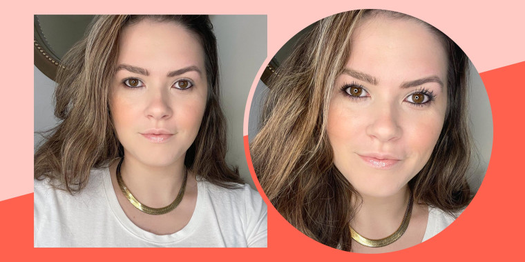 Casey DelBasso shows before and after photos of her wearing the L'Oreal Telescopic Mascara