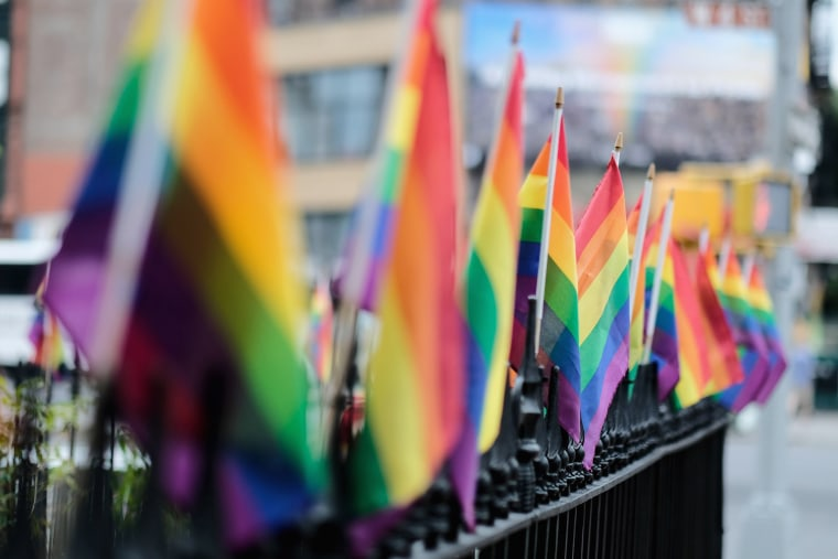 Image: Pride rainbow flags outside the Stonewall Inn in New York City