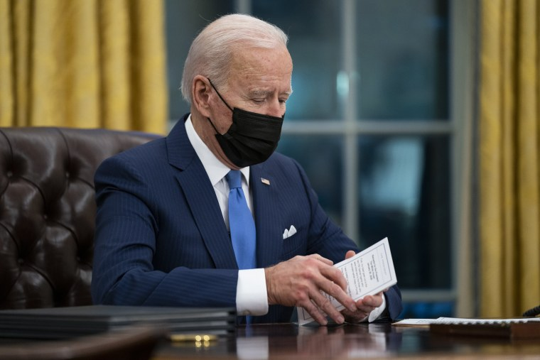 Image: President Joe Biden delivers remarks in the Oval Office of the White House.