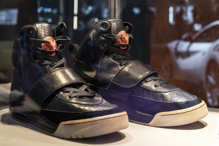 A pair of Kanye West's Nike Air Yeezy 1 sneakers are for sale for $2 million at the Sotheby's show in Hong Kong on April 16, 2021.