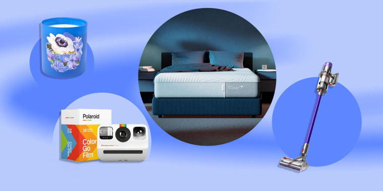 Illustration of the Polaroid Go Camera, Mattress from the Casper cooling collection, Dyson Outsize vacuum and candle from the Otherland launches Garden Party collection