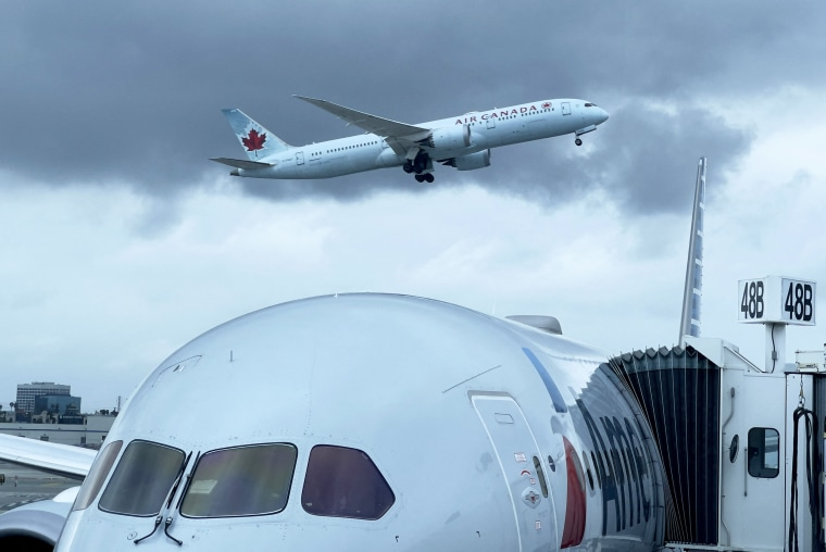 An Air Canada airplane takes off from Los Angeles International Airport on April 24, 2021.