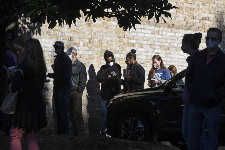 Image: Voters wait in line to cast their ballots on Nov. 3, 2020, in Auburn, Ala.