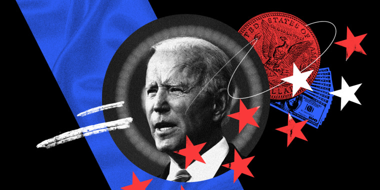 Photo illustration of President Joe Biden along with dollar bills and a coin.