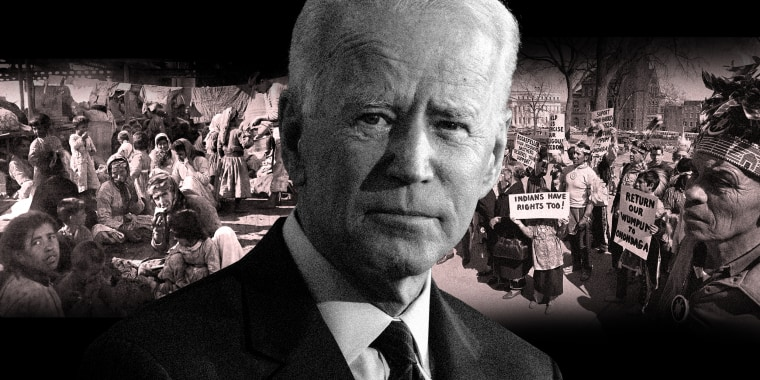 Photo illustration: President Joe Biden against an image of Armenian refugees and another image of members of various native American tribes in front of the capitol building in Albany.