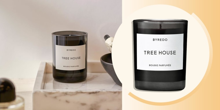 Image of the Byredo Tree House candle and a lifestyle image of the candle in a bathroom. Everything you need to know about the Bryedo Tree House candle. Shop the scented candle and alternatives to help make your space more relaxing.