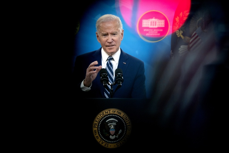 Image: President Joe Biden  in the Eisenhower Executive Office Building in Washington on March 29, 2021.
