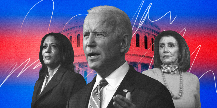 Illustration of President Joe BIden, Vice President Kamala Harris and House Speaker Nancy Pelosi with the Capitol behind them.
