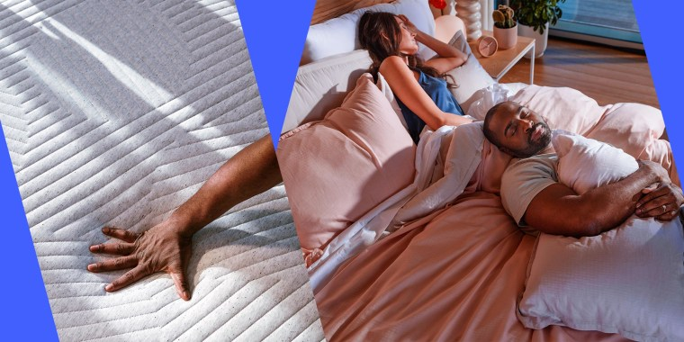 Illustration of a couple sleeping on their new Casper cooling mattress and a hand pressing down on the bare mattress