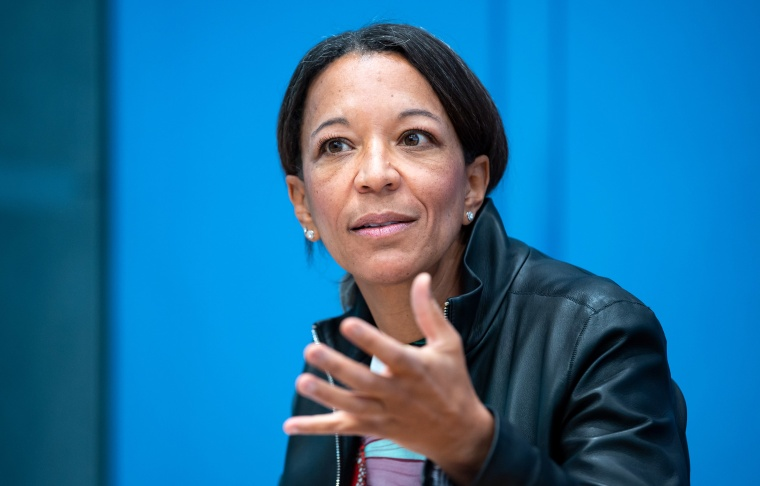 Image: Janina Kugel speaks at a press conference in Germany on measures for the advancement of women in October 2020.