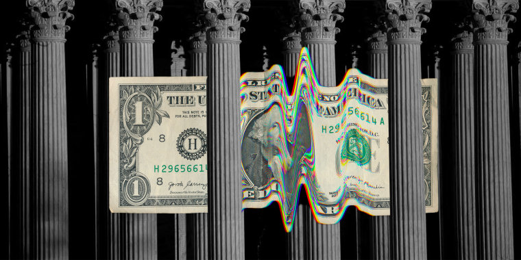 Photo illustration: A glitched dollar bill passing through pillars of the Supreme Court of the United States.
