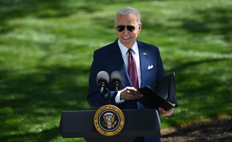 Image: President Joe Biden arrives to deliver remarks on the Covid-19 response outside the White House on April 27, 2021.