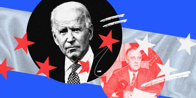 Photo illustration with images of Joseph Biden and Franklin D. Roosevelt
