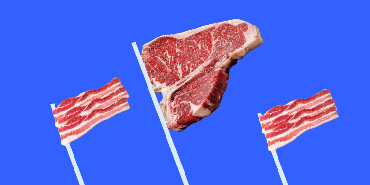 Photo illustration: Three flags made of steak and bacon strips.