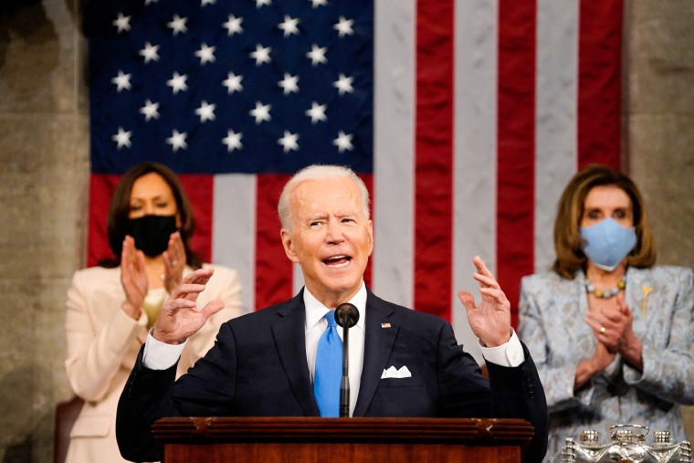 Image: Vice president Kamala Harris and Speaker of the House Nancy Pelosi applaud as President Joe Biden addresses a joint session of Congress at the U.S. Capitol on April 28, 2021.