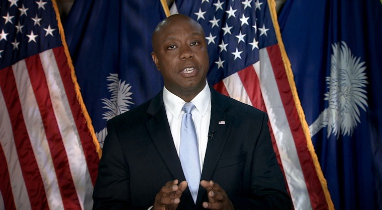 Image: Rep. Tim Scott, R-S.C., delivers the Republican response to President Joe Biden's joint address to Congress on April 28, 2021.