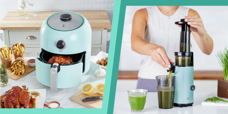 Illustration of a Dash air fryer and Dash juicer in mint green