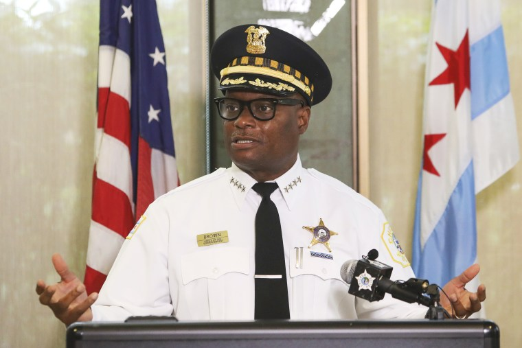 Chicago Police Superintendent David Brown speaks at a news conference on Monday, July 27, 2020.