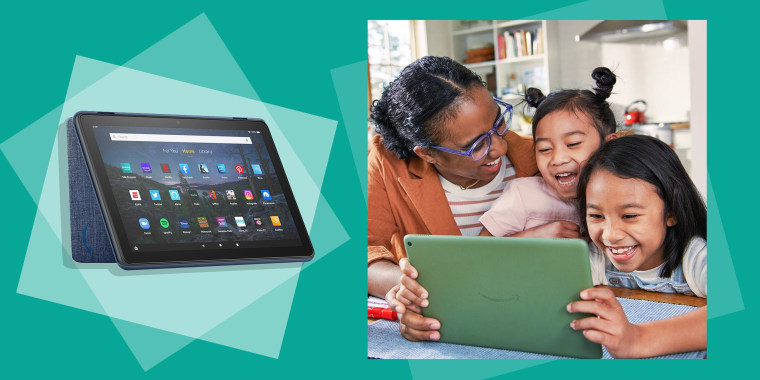 Image of a Woman and two kids on a gree Fire Tablet 10, and a Fire Tablet