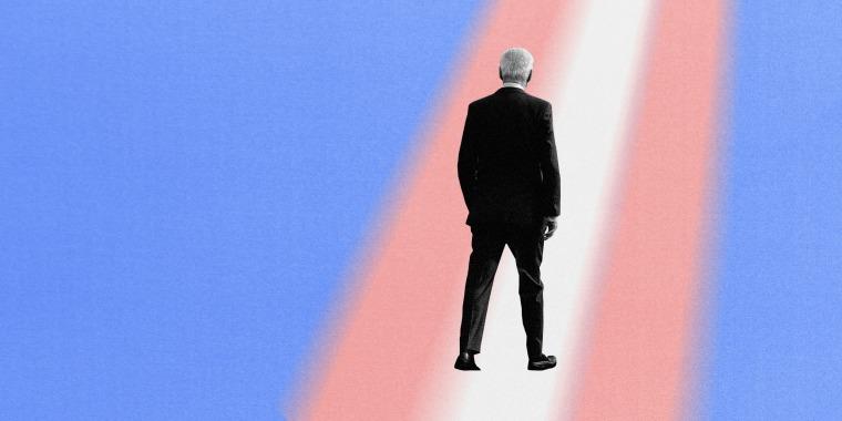 Illustration of President Joe Biden walking down a path made of the transgender flag.