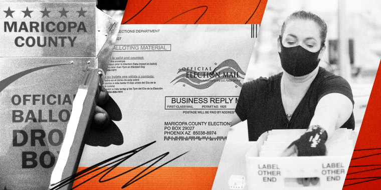 Image: Photos of a Maricopa County ballot box, a Arizona election ballot, and an election worker counting ballots with scribbles.